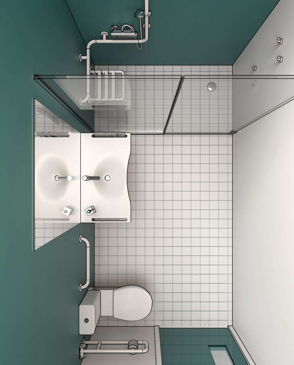 Progettazione Casa In 3D disabled bathroom design dwg drawings in 3d