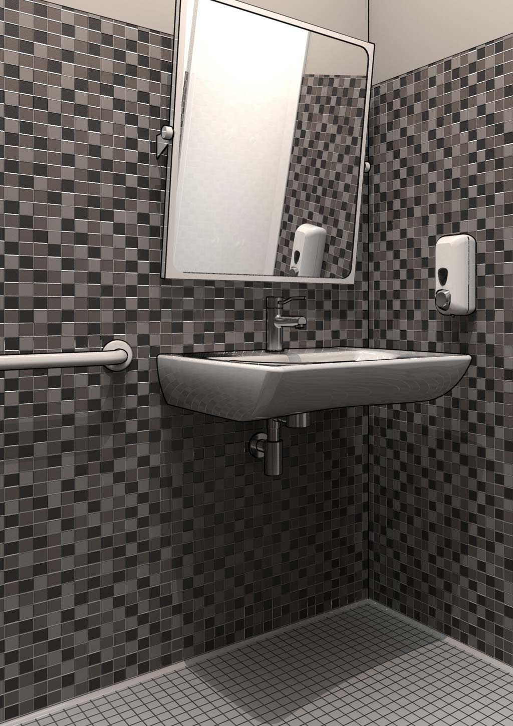 Lavabo 3d Dwg.Disabled Bathroom Design Dwg Drawings In 3d